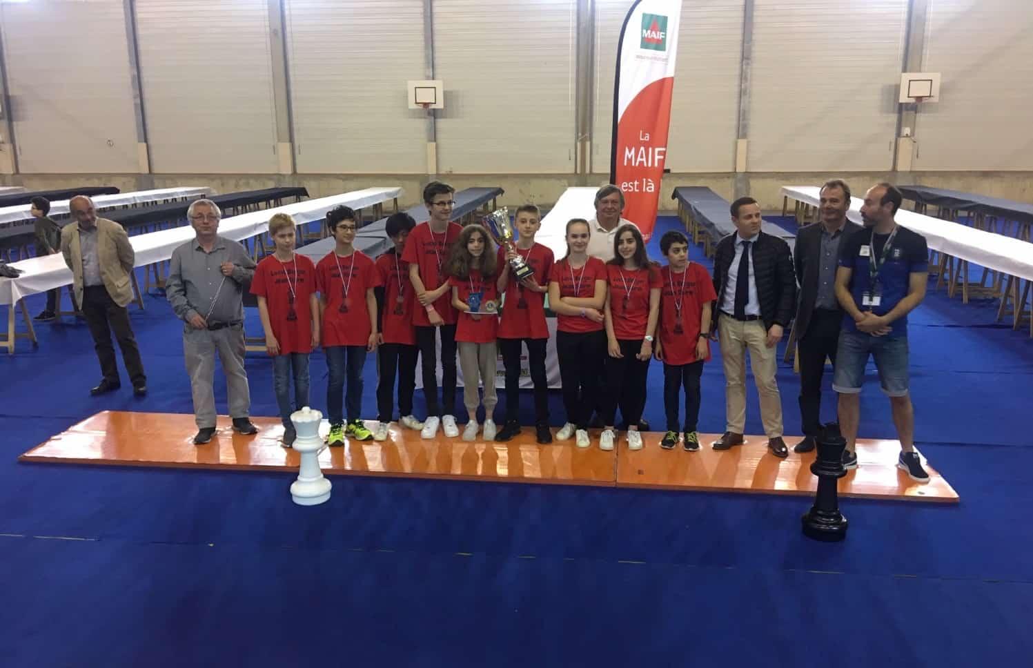 Le collège du GYMNASE, Champion de France par équipe d'Echecs